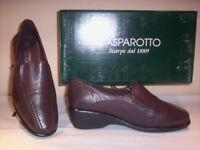 Gasparotto scarpe classiche mocassini casual donna zeppa pelle marroni shoes 36