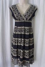 Studio M Dress Sz XS Navy Ecru Cotton Blend Empire Casual Cocktail Party dress