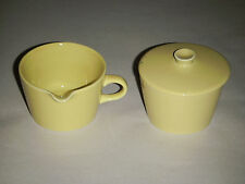 PAIR ARABIA MADE IN FINLAND 6-8 YELLOW IN OUT CERAMIC SUGAR BOWL,COVER & CREAMER