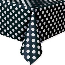 "54""x108"" Black White Polka Dot Spot Style Party Disposable Plastic Table Cover"