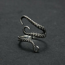 Women Mens Stainless Steel Octopus Biker Finger Band Ring Jewelry Free Shipping