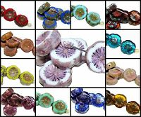 CHOOSE COLOR! 6pcs 12mm Table Cut Flower Beads Czech Glass