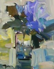 JOSE TRUJILLO - Blue Flowers Canvas Glass SIGNED COA Oil Painting IMPRESSIONISM