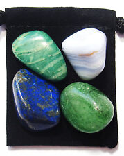 NERVOUS SYSTEM Tumbled Crystal Healing Set = 4 Stones + Pouch + Description Card