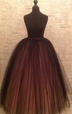 black pink tulle skirt floor length maxi vintage prom net mesh party formal net