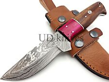 UD CUSTOM MADE FIXED BLADE 1095 DAMASCUS ART HUNTER FULL TANG SKINNER KNIFE 387