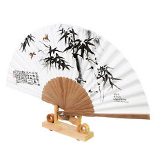 Korean Paper Bamboo Folding Fan Korean Tradition Hand Fan Bamboo Bird Picture