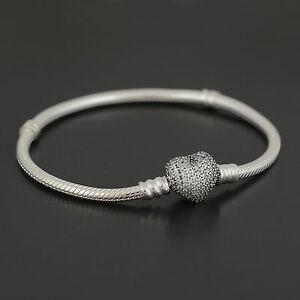 Authentic Pandora Silver Pave Heart Clasp Bracelet 590727CZ