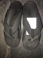Boys Girls Adidas Flip Flops Slidders Pool Beach Shoes Size 2 Black Toe Post New