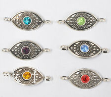 10pcs tibetan silver mix color charms rhinestone  eye beads  Connectors 28x12mm