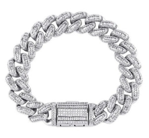 Baguette & Round Cut Cubic Zirconia In 925 Sterling Silver Men's Fine Bracelet