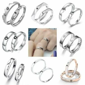 925 Silver 2Pcs Sun Moon Couple Promise Opening Finger Ring Jewelry Wedding Gift