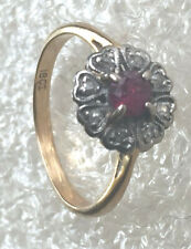 18 ct 750  gold platinum  ruby and dia  cluster ring