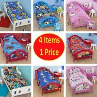 Childrens 4 in 1 Bed Bundle For Cot Single Kid Bedding Set Quilt Pillow Boy Girl