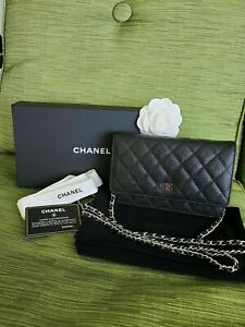 ❅❆❇❅❆❇❅❆❇Chanel Wallet on Chain Caviar Flap Bag Black 100% Authentic 2018 Silver