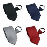 UK Men's Lazy Zipper Necktie Solid Casual Business Slim Zip Up Neck Tie 4Color