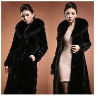 Vogue Women's Winter Warm Luxury Faux Mink Fur Collar Long Coat Jacket Outwear @
