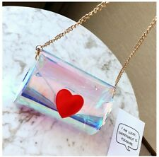 Stylish Laser Transparent Crossbody Shoulder Bag Clutch with Chain Strap Korean