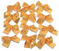 12X Christmas Tree Bow Decoration Baubles XMAS Party Garden Bows Ornament Gold