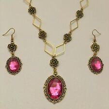 VICTORIAN STYLE - DIAMOND ROSE - HOT PINK CRYSTAL GOLD PLATED NECKLACE SET DR