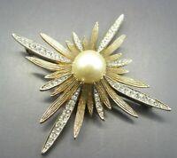 VTG STARBURST Sunburst GOLD TONE BROOCH PIN Faux Pearl RHINESTONES Gorgeous!!