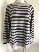 New Ann Taylor LOFT Sweater Petite Size XL Stirped Ruffle Long Sleeve