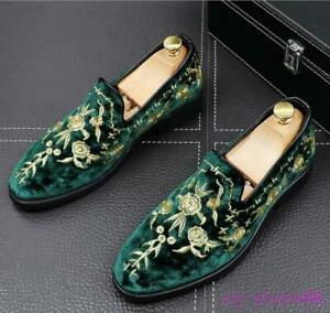 Mens Casual Gold Embroidered Loafers Poiny Toe Velvet England Dress Shoes Pumps