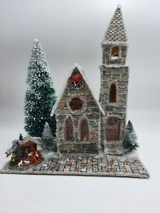 """""""Stained Glass Brick"""" Church Paper Putz House"""