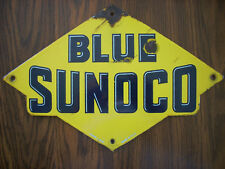 Vintage Original Blue Sunoco Pump Plate Single Sided Porcelain Sign