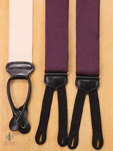 TRAFALGAR Purple Jacuard Paisley Suspenders Braces Black Ends EH02