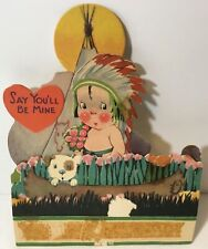 """Vtg Antique Valentines Day Card Stand Up Indian Dog Canoe """"Say You'll Be Mine�"""