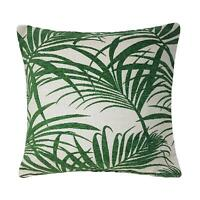 """Filled Fern Leaf Chenille Linen Look Green Beige Thick Woven Cushion 18"""""""