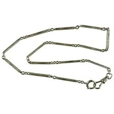 Link Watch Chain Engraved Vintage 14k White Gold Solid