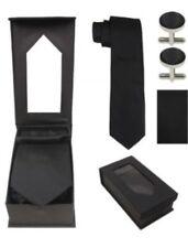 Classic Black Tie Set Solid Mens Silk  Wedding Necktie Sets HIGH QUALITY