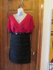 ENFOCUS RED & BLACK COCKTAIL DRESS SEQUIN ACCENT Size 14 Petite