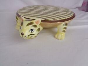 Home Essentials Whimsical Yellow Tiger Stripe CAT Porcelain Cake Stand Plate 11""
