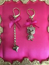 Betsey Johnson Terrific Tutus Mismatch Gold Bear Pink Bow Crystal Heart Earrings