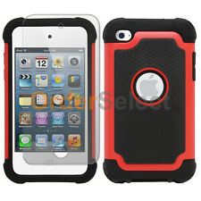 NEW Hybrid Rubber Case+LCD HD Screen Protector for Apple iPod Touch 4 4th Red