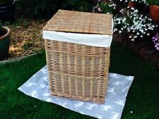 LARGE LIGHT STEAMED WILLOW SQUARE LAUNDRY BASKET WITH INTEGRAL HANDLES & LINING