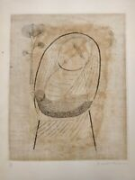 "Keiko Minami Japan Aquatint Etching ""Girl and Moon"" #14/50 1957 Bird Browns"