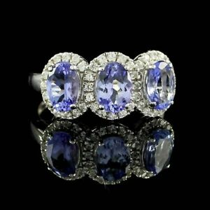 Tanzanite Three-Stone Band Ring 18K White Gold Over Sterling Silver 925