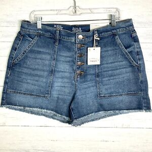 NEW a.n.a. High Rise Shortie Short Button Fly Cut Off Jean Shorts Sz 14 NWT