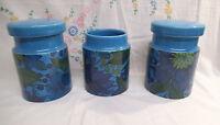 Three Rare Surrey Ceramics Storage Jars - c. 1960/70's - Turquoise Flowers