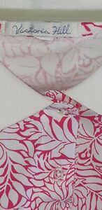 VICTORIA HILL Collared T-SHIRT, WOMEN'S LADIES, SIZE L, COLOUR PINK/WHITE FLORAL