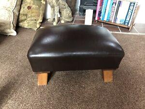 Footstool Vintage Brown Faux Leather Stool Wood Legs Retro Vintage
