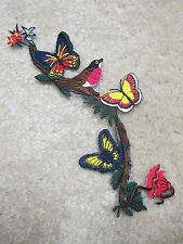 "#4257 7-1/4"" Wild Flower Bird  & Butterfly Embroidery Iron On Appliqué Partch"