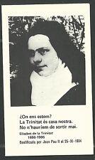 Estampa de la Hermana Elisabeth de la Trnidad andachtsbild santino holy card