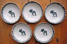 "Lot 5, Tienshan Folk Craft MOOSE COUNTRY Green Sponge Soup / Cereal Bowls,6 5/8"""