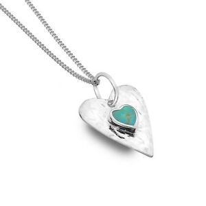 Turquoise Heart Pendant Sterling Silver Necklace 925 Hallmark All Chain Lengths
