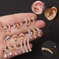 Back Crown Flower CZ Zircon Tragus Helix Cartilage Ear Stud Piercing Earring